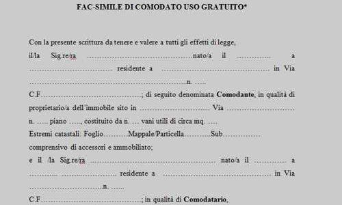 Il Contratto di Comodato